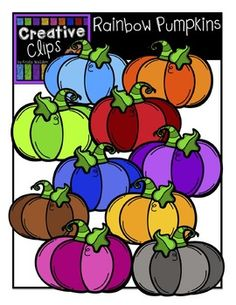 Enjoy these FREE Rainbow Pumpkins! Included are 11 vibrant, colored images and 1 black and white version (not shown in the preview).