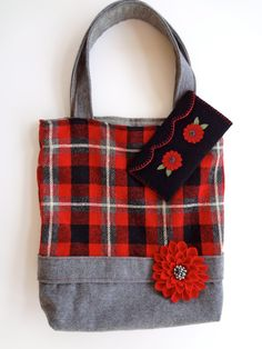 Red and Gray Plaid Felted Wool Tote Bag and Clutch with Red Wool Flower Pin by Alfred Woolens