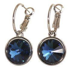 Swarovski Elements Crystal Harley Pierced Earrings Montana Blue Rhodium 7165y