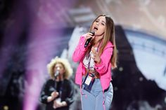 Lindita, Albania's representative at the 2017 Eurovision Song Contest, clocks in for her first rehearsal at Kyiv's International Exhibition Centre. Eurovision Song Contest, Eurovision Songs, Photo Galleries, Albania