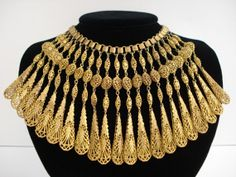 Vintage Egyptian Victorian Revival Brass Antique Gold-Tone Filigree Bib Book Chain Necklace on Etsy, $295.00