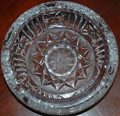 american+brilliant+ashtray | American Brilliant Cut Glass Crystal Ash Tray With Intricate Design