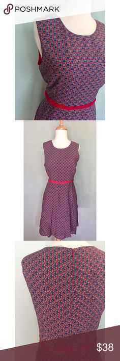 "NWT☀️ModCloth braided waist print dress Large NWT☀️from ModCloth, Esley brand, braided waist detail, dainty print, A-line dress, size Large. Jewel neckline, sleeveless, bust & waist darts and set-in waist with red braided fabric, hidden zipper with hook/eye closure. 100% rayon, fully lined in contrasting red 98% polyester 2% spandex. 31"" waist, 38"" bust, 37"" length shoulder to hem. Adorable little sassy number for spring break! 🌼 ModCloth Dresses"