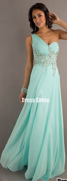 A line One Shoulder Chiffon Beading Sequins Water Prom Dress