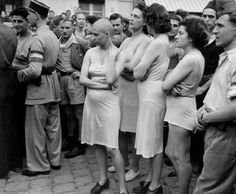 "Influential Photographs Shaming Nazi Collaborators _ Robert Capa immortalizes the treatment of French women who were believed to have been Nazi collaborators during liberation ""ugly carnivals"" in 1944, France."
