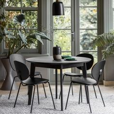 Black Novato Round Dining Table 110cm | Modern Dining Tables