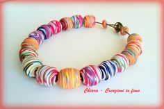 Beaded multicolor statement necklace in polymer clay colorful
