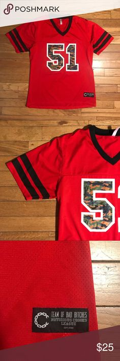 Crooks and Castles Football Jersey • 🔥Rare Crooks and Castles piece (the camo's so cold on the numbers) • Excellent condition 9/10 • Women's Small, but it's loose fitting/roomy so a men's S would fit  • 100% polyester, lightweight  • The red dye of the jersey bled on the outer border of the numbers, but it is all even so it just looks as if it came that way. Kind of cool     Tags: Supreme, Nike, football jersey, hypebeast, fashion, streetwear, adidas, champion Tops Tees - Short Sleeve