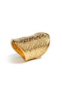 Gold woven ring, Bex Rox, Stylebop.com, $335, ItsGorgeousSheLovesIt.tumblr.com