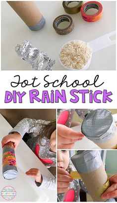 This DIY rain stick was a fun collaborative fine motor/art project. Perfect for tot school, preschool, or the kindergarten classroom.