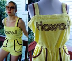 SUNNY HAWAII 1970's 80's Vintage Bright Yellow by Jewels4pandas