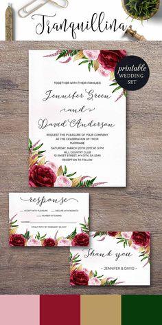 Watercolor Wedding Invitation, Marsala Wedding Invitation Burgundy Gold Pink Wedding Invitation Spring Summer Floral Wedding Invitation Set DIY. Wedding Trends. tranquillina.etsy.com