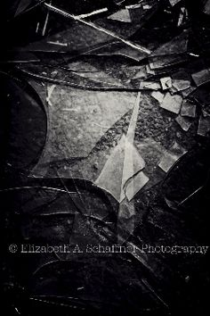 Shattered by Elizabeth A. Schaffner Photography  #Photography #BlackandWhite #Abstract #Glass #Shattered #Window #Abandoned