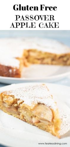 This gluten free Passover apple cake is moist and delicious. Gluten free matzo meal or matzo cake meal makes this kosher for Passover. Gluten Free Apple Cake, Apple Cake Recipes, Gluten Free Desserts, Gluten Free Recipes, Dessert Recipes, Passover Desserts, Passover Recipes, Passover Meal, Desert Recipes