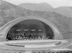 (1927)* - Orchestra practicing at the Hollywood Bowl with its new Lloyd Wright designed shell. The Bowl opened in July, 1922.