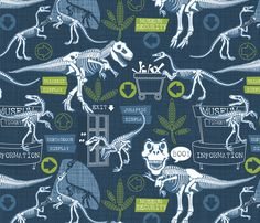 Dinosaurs just want to have fun fabric by cjldesigns on Spoonflower - custom fabric