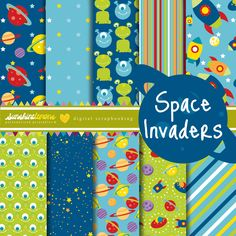 Space Invaders Digital Scrapbooking Paper Set. $4.95, via Etsy.