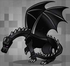 how to draw ender dragon - Minecraft World Minecraft Ender Dragon, Minecraft Mobs, Mine Minecraft, Minecraft Characters, Minecraft Fan Art, Minecraft Stuff, Minecraft Drawings, Minecraft Wallpaper, Wings Drawing