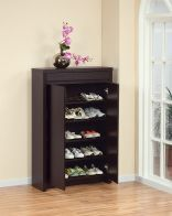Beautiful and functional, this Studio shoe cabinet fits up to 15 pairs of shoes. This multi-purpose cabinet features one top drawer compartment and five shelves.