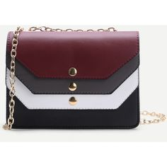 SheIn(sheinside) Color Block Design PU Chain Bag ($19) ❤ liked on Polyvore featuring bags, handbags, shoulder bags, she in bags, chain handbags, colorblock purse, chain shoulder bag, pu handbag and chain purse