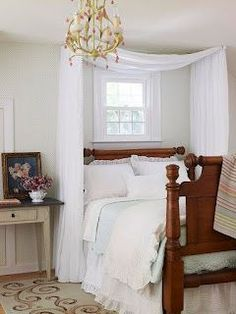 DIY romantic bed canopies- This would be pretty in our master bedroom just don't know if the hubby would like it....