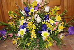 cemetery saddle flower arrangements | Headstone-Cemetery-Tombstone-Saddle-Spring-Easter-Silk-Flowers-Iris ...