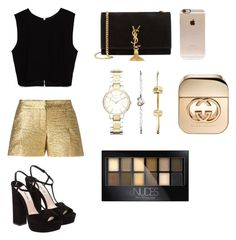 """""""Black & Gold"""" by andrea-garcia-0812 ❤ liked on Polyvore featuring Zara, Lanvin, Yves Saint Laurent, Incase, FOSSIL, Maybelline, Gucci and Miu Miu"""