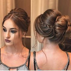 pretty prom updo with accent braid + chignon finish Braided Hairstyles For Wedding, Bun Hairstyles, Trendy Hairstyles, Hairstyle Ideas, Bridesmaid Hair, Bridesmaids, Hair Dos, Hair Trends, Hair Inspiration