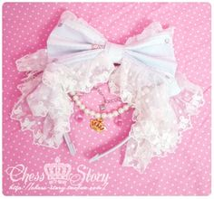 #Lolita headband #ChessStory #fashion #cute #pretty #bows #ribbons #lace #frills