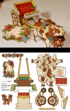 moo moo buggy by *hira-geco on deviantART. Could put horse instead for Christmas. Kirigami Templates, Diy And Crafts, Crafts For Kids, Paper Doll House, Art Carte, Paper Animals, Vintage Paper Dolls, Paper Folding, Toy Craft