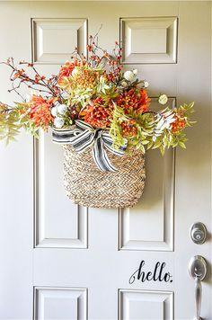 BRAMBLY FALL FRONT DOOR DECOR - StoneGable Outdoor Fall Wreaths, Easy Fall Wreaths, Autumn Wreaths For Front Door, Diy Fall Wreath, Fall Door, Front Door Decor, Door Wreaths, Wreath Ideas, Burlap Wreath