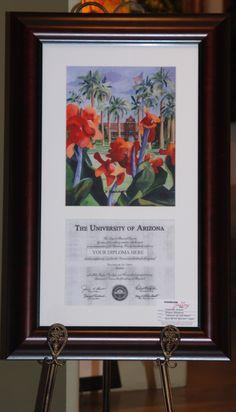 Beautiful way to display your hard earned diploma! First University, University Of Arizona, Hard Earned, Tucson, Banner, Display, Gallery, Creative, Beautiful