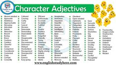 Character Adjectives in English, Adjectives that Describe Personality, Personality Adjectives – Words To Describe Someone's Character; Adjectives To Describe Personality, Adjectives To Describe People, Words To Describe People, List Of Adjectives, English Adjectives, English Vocabulary Words, English Words, English Grammar, Descriptive Words For People
