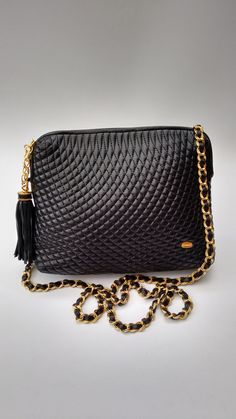 Bally Vintage Black Quilted Leather Shoulder  Crossbody Bag. Authentic  designer purse. b940329a4e5af