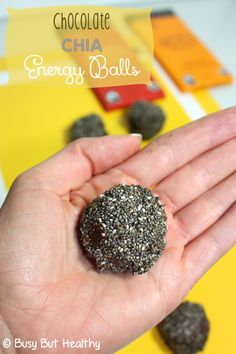 Chocolate Chia Energy Balls - gluten-free, no-bake, chewy and delicious, 100 cals per ball!  | BusyButHealthy.com