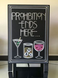 Art Deco-Roaring Twenties-Vintage-Great Gatsby Wedding- Prohibition Ends Here Quote Sign
