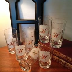 """Vintage glassware with the letter """"H"""" in gold - set of seven by FromTheSeller on Etsy"""
