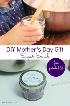 Homemade Mother's Day Gift Kids Can Make. Easy DIY Sugar Scrub Recipe you can make at home or in the classroom. Moms will LOVE it!