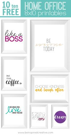 FREE Printables: 10 Home Office printables to inspire you, put a little spice in your office décor, and for fun! (Courtesy of Be Inspired Creative) Office Free, Office Prints, Diy Papier, Ideias Diy, Office Makeover, Cubicle Makeover, Home Office Decor, Small Office Decor, Free Printables