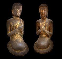 "Pair of Rattanakosin Gilt Bronze Sculptures of Seated Disciples - X.0252 Origin: Thailand Circa: 18 th Century AD to 19 th Century AD Dimensions: 16"" (40.6cm) high x 7"" (17.8cm) wide Collection: Asian Medium: Gilt Bronze"