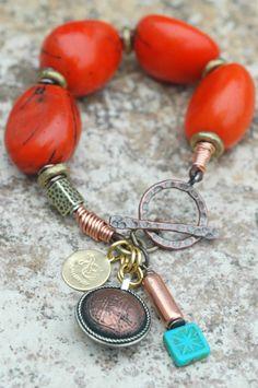 Orange Tagua Nut Bracelet: Exotic Orange Tagua Nut, Copper, Brass and Tibetan Coin Charm Bracelet $95.00