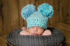 Double pom pom hat  Check out this item in my Etsy shop https://www.etsy.com/listing/288535999/baby-pom-pom-hat-blue-pom-pom-hat-double