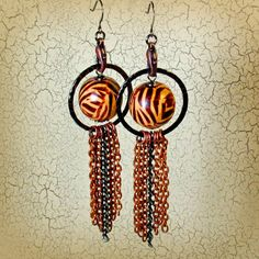 Statement Earrings Animal Print Jewelry in Tiger by BluKatDesign