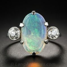 Vintage English Opal and Diamond Ring.