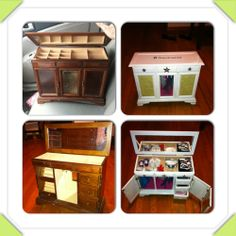 "DIY Before - broken jewelry box After - American Girl or other 18"" doll clothes armoire"