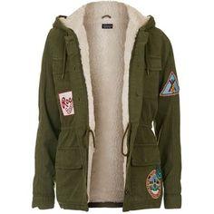 TopShop Badged Hooded Jacket