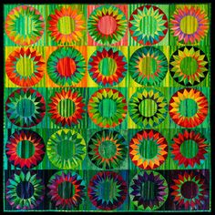 gorgeous green sunflower quilt