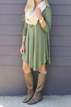 Never Let Go Olive V-Neck Quarter Sleeve Dress