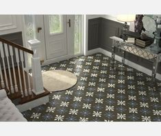 Liverpool Black Pattern Porcelain Floor Tile from Tile Mountain only per tile or per sqm. Order a free cut sample, dispatched today - receive your tiles tomorrow Hallway Flooring, Kitchen Flooring, Floor Patterns, Tile Patterns, Tiles For Sale, Black Tiles, Black Floor, Style Tile, Decorative Tile