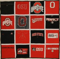 Show some love for your favorite team! 16 sq. Stadium Quilt with black backing and white sashing.